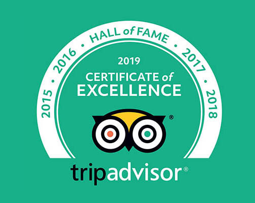 Surf Side TripAdvisor 5 years certificate of excellence award